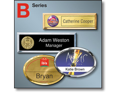 B series (Bright & lightweight) name badges by Fattorini