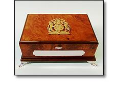 Wooden casket & Emblem