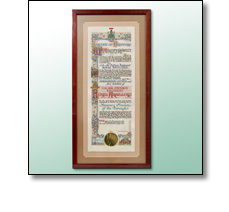 Framed velum illuminated scroll