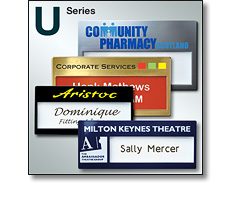 U series reusable name badges by Fattorini