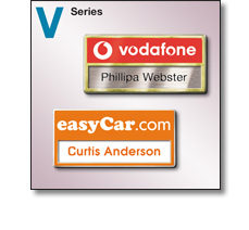 V series (Reusable and versatile) name badges by Fattorini