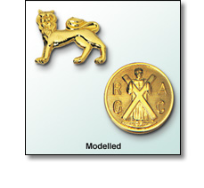 Pin badges in modelled relief