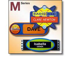 M series (specially moulded) name badges by Fattorini