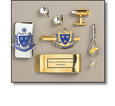 Corporate gifts such as cufflinks, tie slides, earrings and money clips
