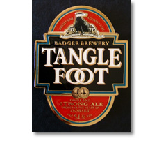 Diecast and enamelled pumpclip for Badger Brewery, Tangle foot.