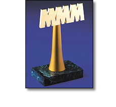 MMM trophy on a marble base