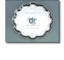 Sterling silver salver engraved