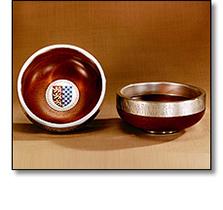 Silverware - Rose bowls silver and enamel
