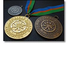 Athletics medal. Gold silver bronze