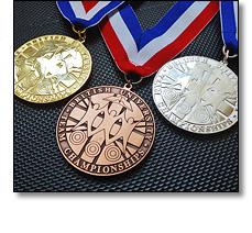 University sport medals. Gold Silver Bronze