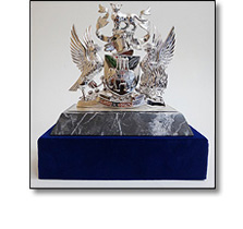 Silver trophy on a marble plinth