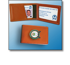 Corporate merchandise - Leather wallets with badges