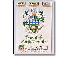 Illuminated scroll detail - South Tyneside
