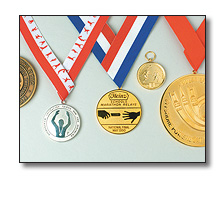 Sports medals on collarettes
