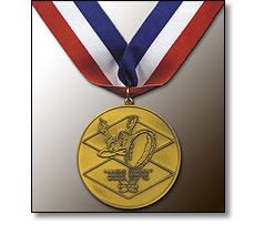 Sports medal on a collar ribbon