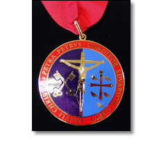 Religious medal a collar ribbon