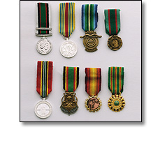 Various Military medals on a short ribbons