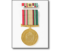 Military medal on a short ribbon, and fancy ribbon bar