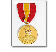 Military medal on a short ribbon