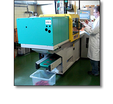 Injection moulding name badges at Fattorini
