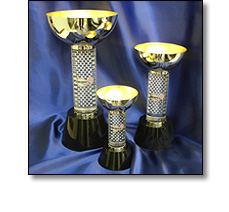 Acrylic and metal rally car racing trophies