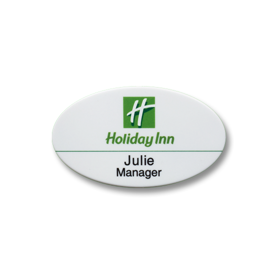 Hotel oval name badge by Fattorini