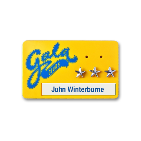 Specially moulded name badges with performance stars