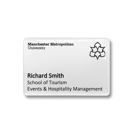 University staff name badge by Fattorini