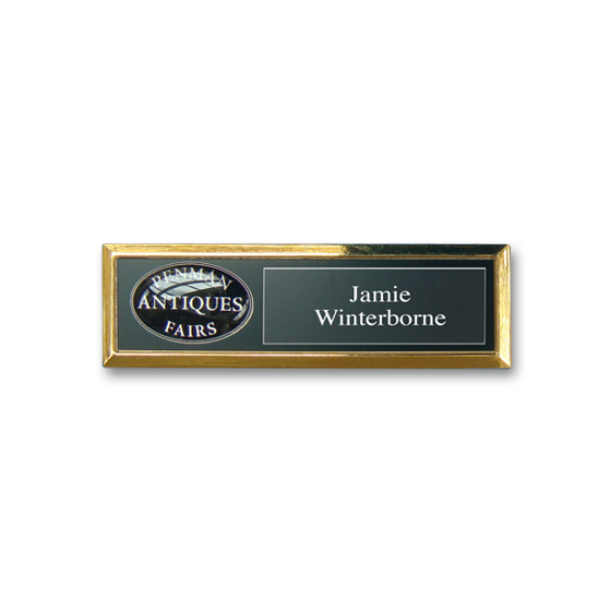 Re usable retail name badge in a gold plated frame