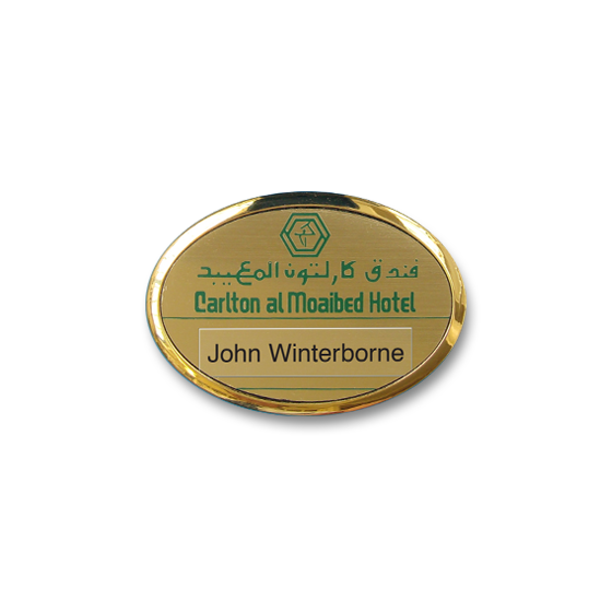 Re usable hotel name badge in an oval gold plated frame