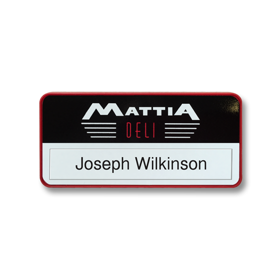 Re usable restaurant name badge in a red frame