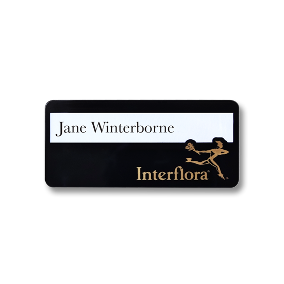 Re usable flower shop name badges - Slim line