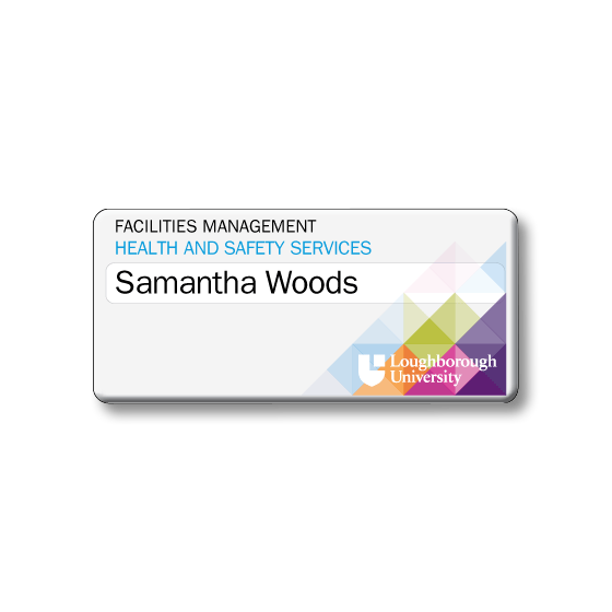 Re usable university staff name badges - Slim line