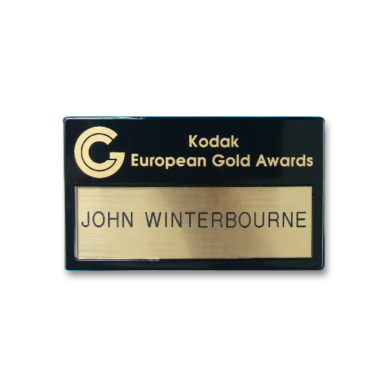 Re usable name badge gold printed