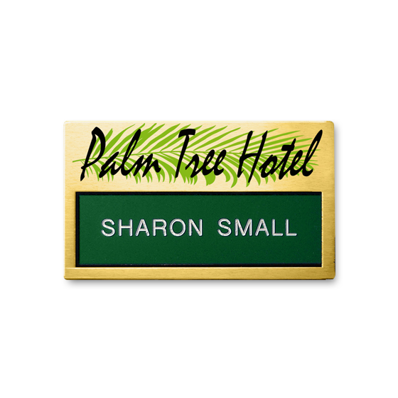Re usable hotel staff name badge, engraved panel