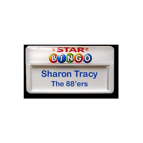 Re usable bingo staff name badge