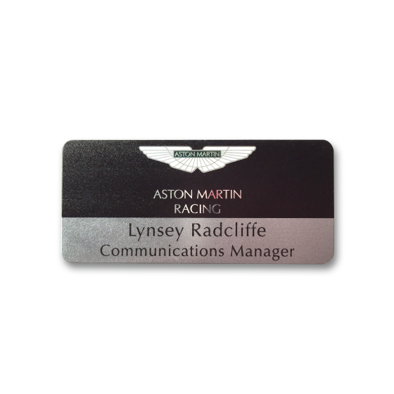 Name badge with metlic lettering