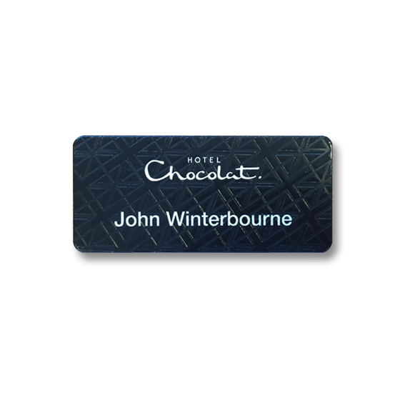 Retail badge printed with a texture