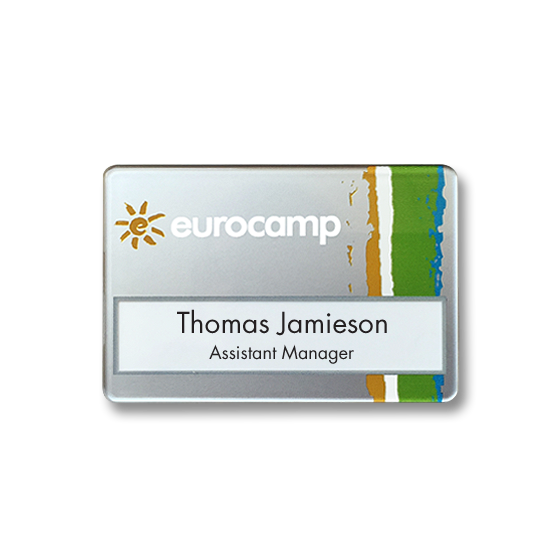 Slim line badge, robust and reusable name badge- reverse printed with silver ink
