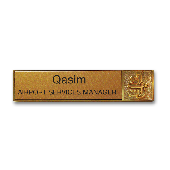 Metal name badge with a gold printed insert