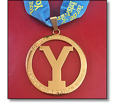 Tour de Yorkshire Medal on a ribbon