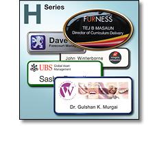 H Series name badges in frames