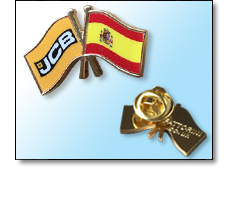 Friendship flag pin badges - bespoke with a corporate flag