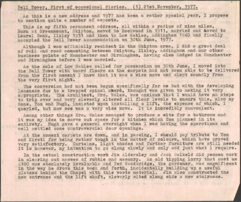 1977-WF Diary Entry 21st Nov 1977 p1